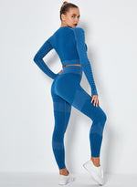 Load image into Gallery viewer, Seamless Long Sleeve Crop Top and Sport Legging-JustFittoo