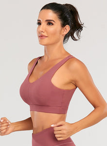 Solid Color Cross Back Women Sport Bra