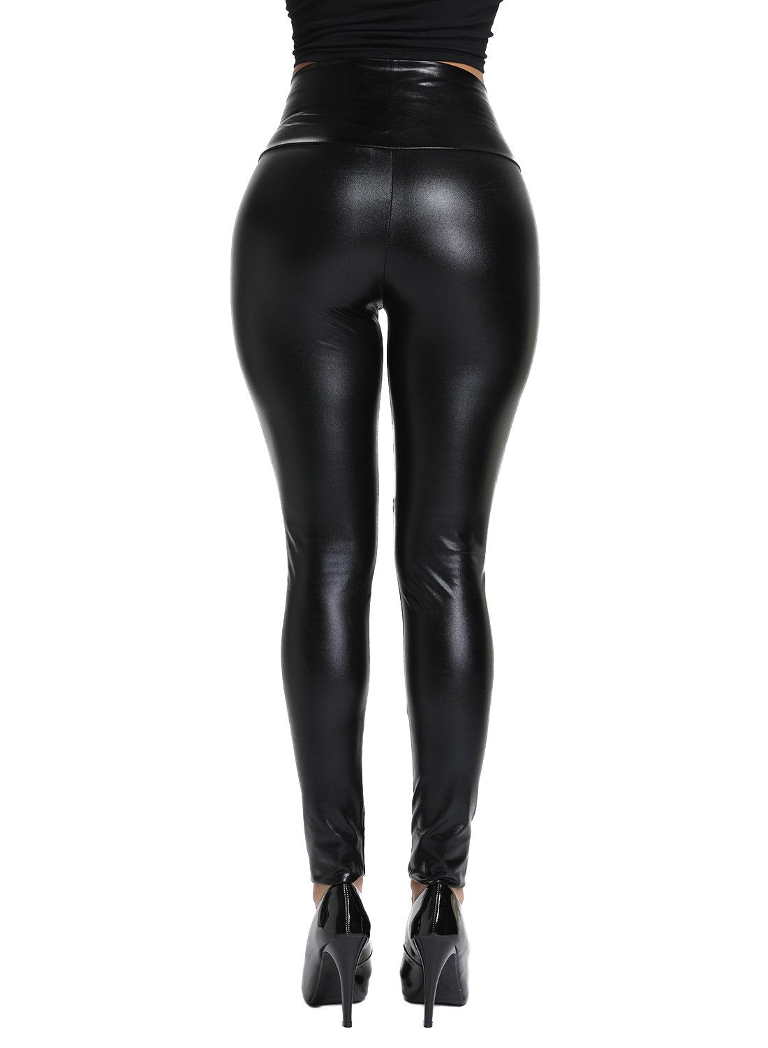 High Waist Slimmed Women Faux Leather Pants-JustFittoo