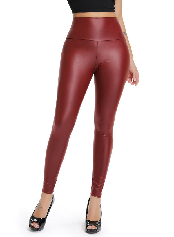 Mercerized Bronzing High Waist Women Faux Leather Pants-JustFittoo