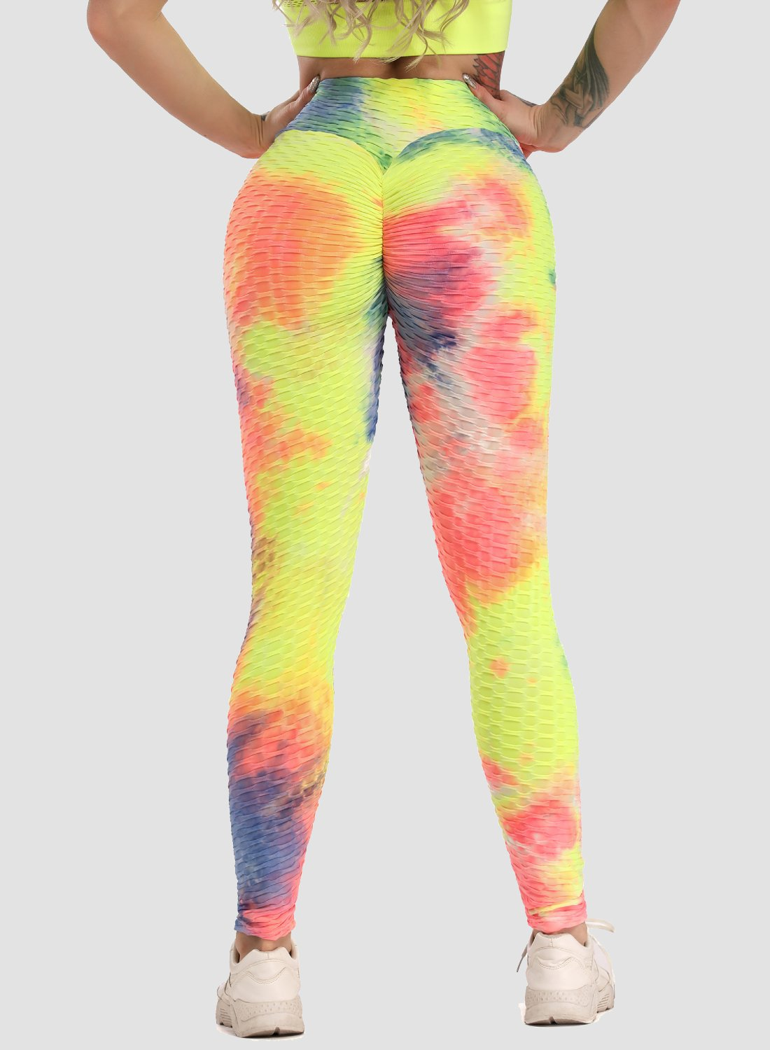 Women's Tie-dyed Textured Leggings-JustFittoo