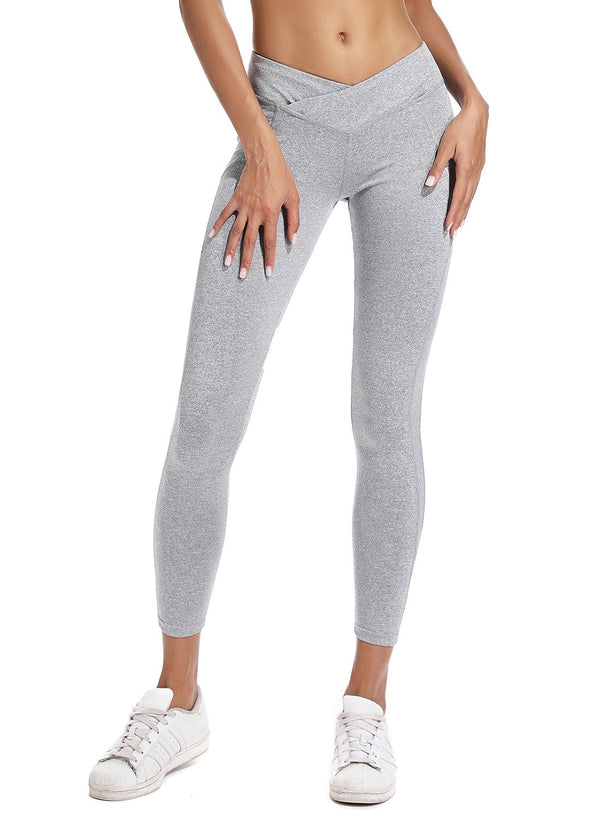 Women's Ruched High Waist Cross Waistband Leggings-JustFittoo