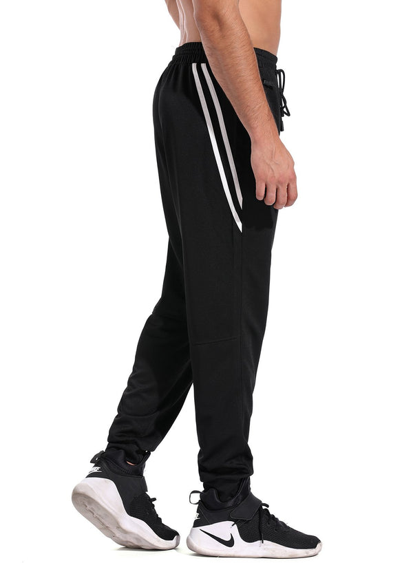 Elastic Waistband Drawstring Stripe Pockets Yoga Pants