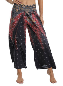 Wide-leg Print Women Yoga Pants Trousers - SeasumFits