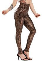 Load image into Gallery viewer, Leopard Print High Waist Faux Leather Pants for Women