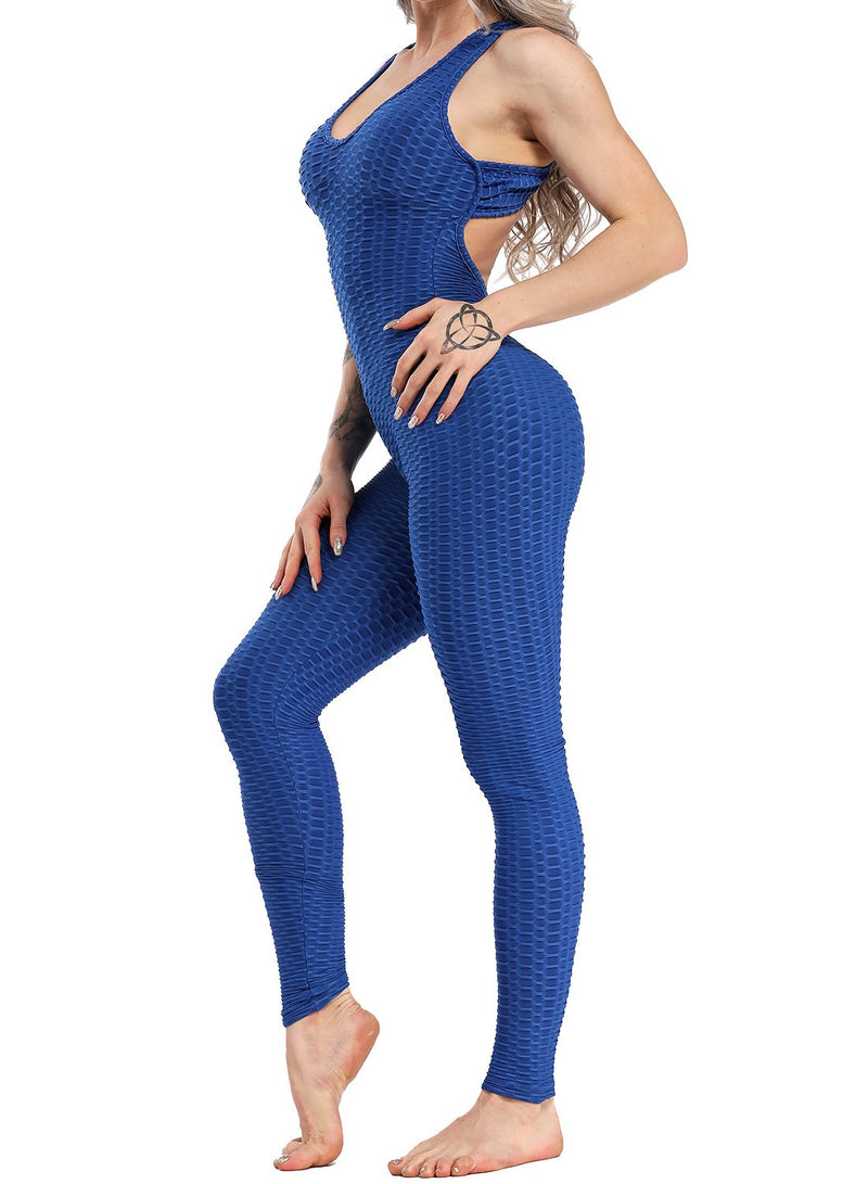 Women's Solid Color Backless Textured Yoga Jumpsuits