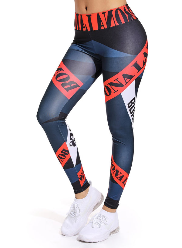 Letter Printing with Contrast Color Yoga Pants for Women