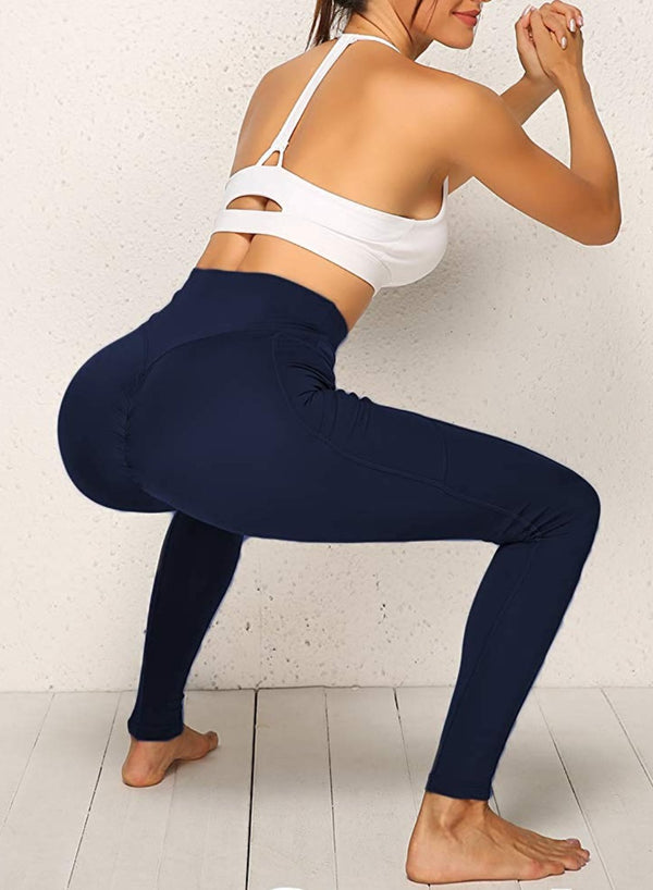 Solid Color Ruched High Waist Pockets Fitness Leggings-JustFittoo