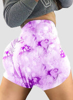 Load image into Gallery viewer, Women Ruched Tie Dye Yoga Shorts