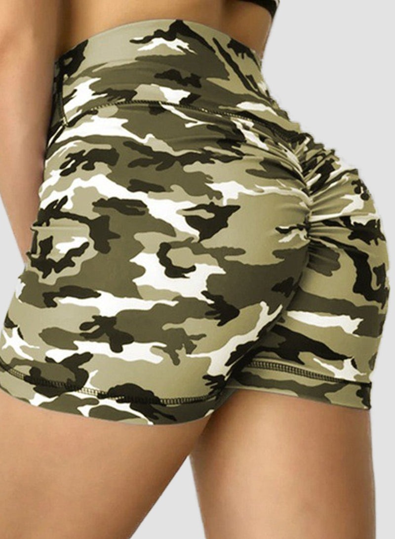 Camouflage Rouched High Waist Yoga Shorts