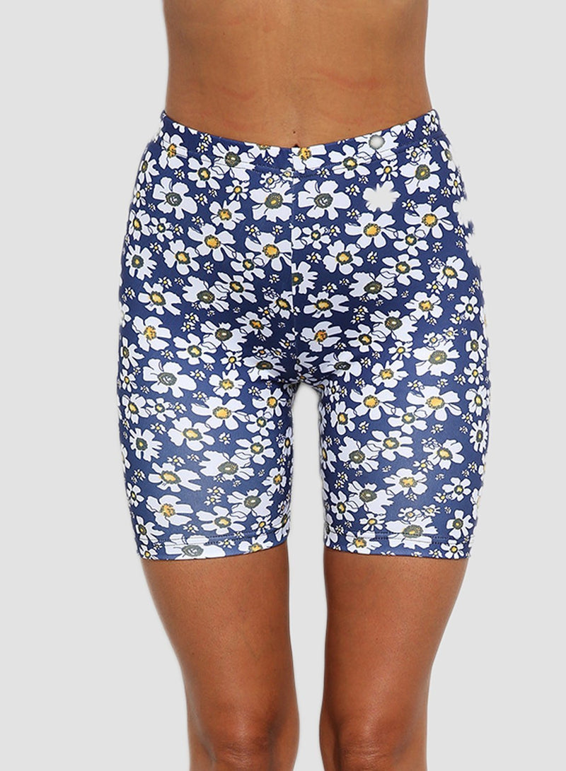 Blue Plus Size Floral Print Short