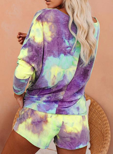 Light Purple Yellow Hot Tie-dyed Off Shoulder T-shirts and Shorts Two Sets