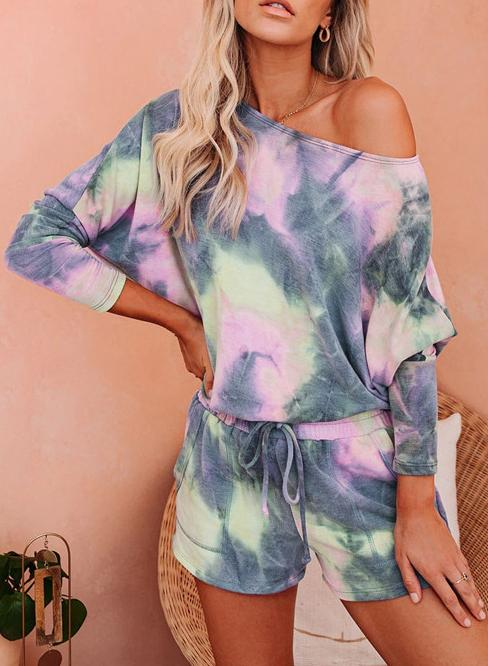 Gray Pink Hot Tie-dyed Off Shoulder T-shirts and Shorts Two Sets