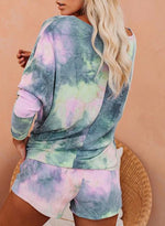 Load image into Gallery viewer, Light Purple Yellow Hot Tie-dyed Off Shoulder T-shirts and Shorts Two Sets