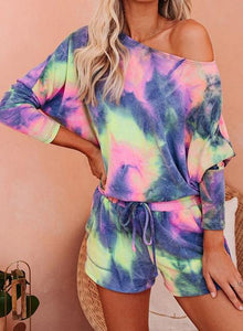 Green Purple Hot Tie-dyed Off Shoulder T-shirts and Shorts Two Sets