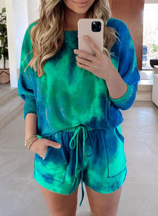 Green+Orange Tie-dyed Off Shoulder T-shirts and Shorts Two Sets