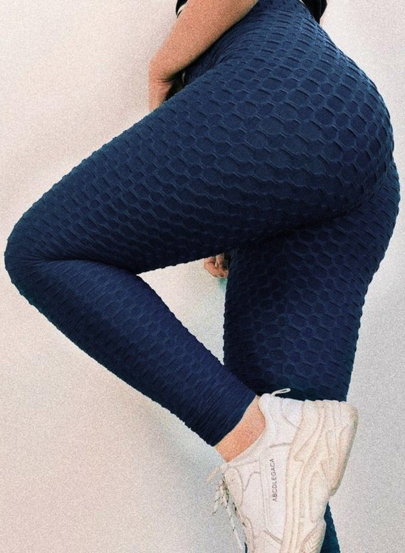 Fittoo Honeycomb Texutures Leggings High Waist Textured Ruched Women Leggings