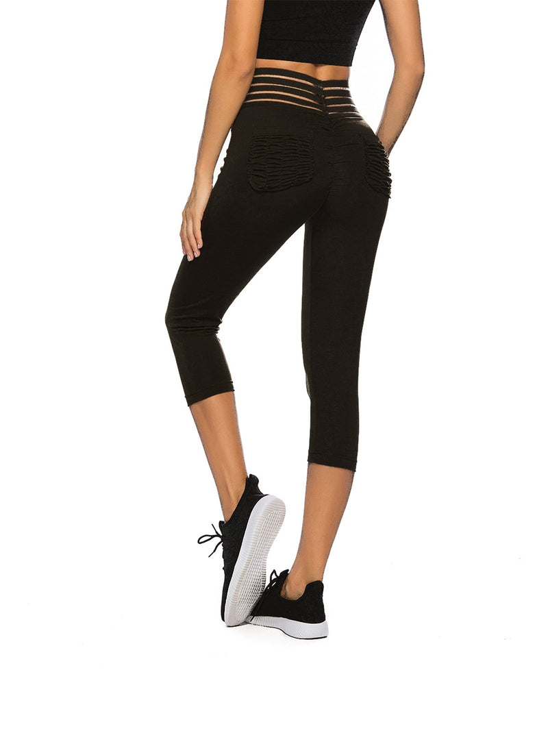 Women's Elastic Waistband Workout Capris Yoga Pants-JustFittoo