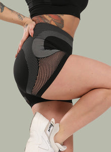 Mesh Hollow Two-tone Seamless Yoga Shorts