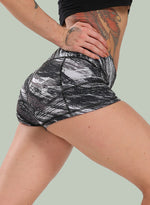 Load image into Gallery viewer, Marble Print Mid Waisted Slim Fit Yoga Shorts