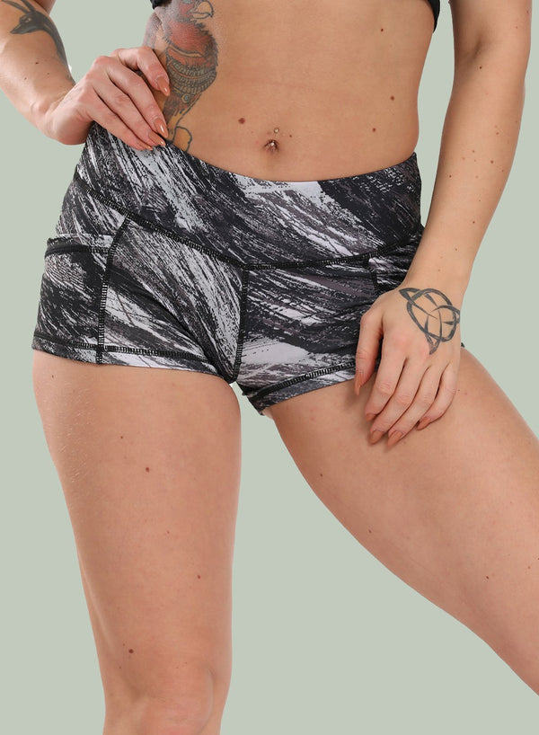 Marble Print Mid Waisted Slim Fit Yoga Shorts