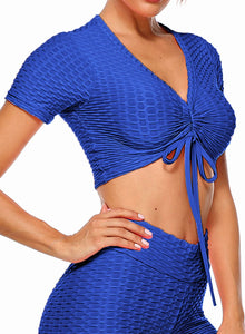Short Sleeves Textured Active Workout Yoga Top
