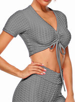 Load image into Gallery viewer, Textured Active Workout Short Sleeves Yoga Top