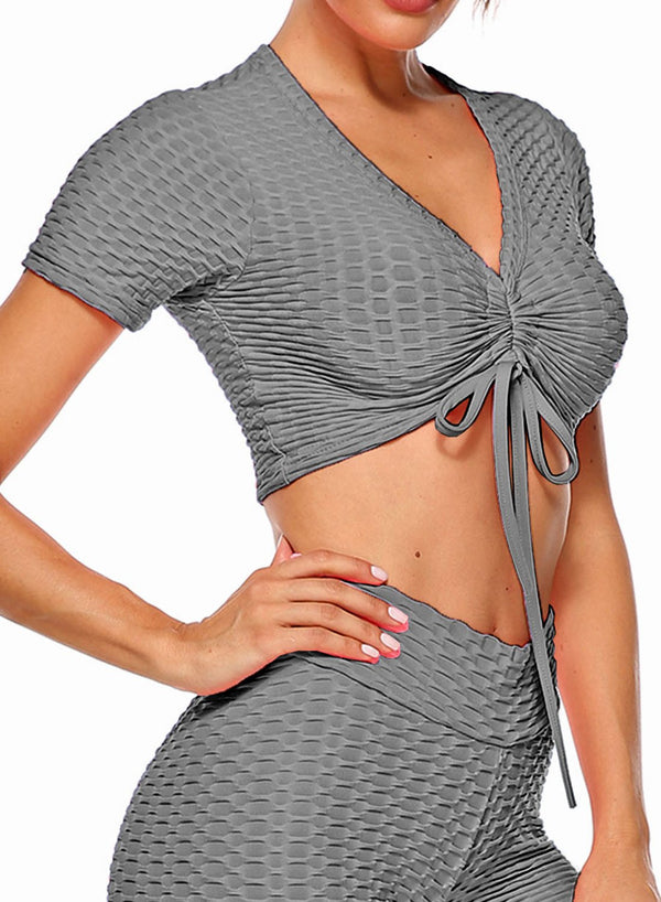 Textured Short Sleeves Active Running Yoga Top