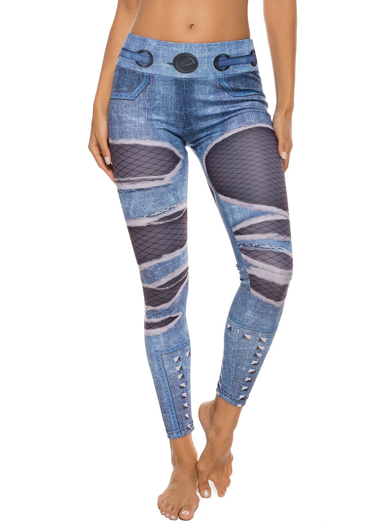 Denim Print Elastic Waistband Workout Yoga Pants