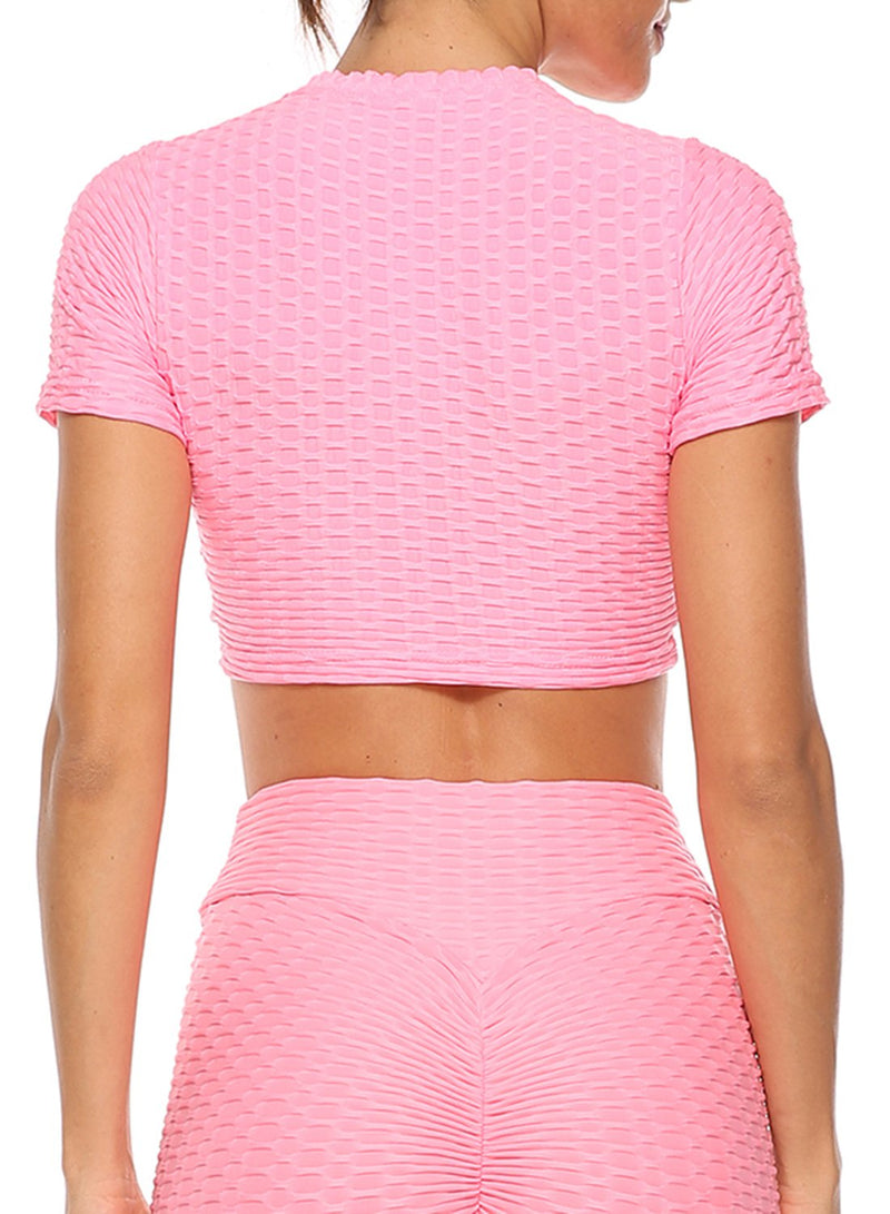 Textured Drawstring Short Sleeves Active Yoga Top