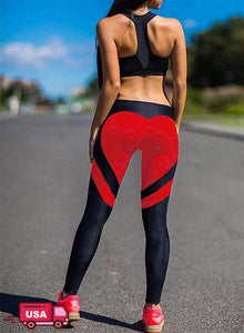 Contrast Color Heart-shaped Print Yoga Pants-JustFittoo