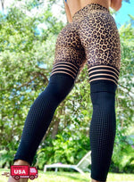 Load image into Gallery viewer, Women's Leopard Print Mesh Stitching Ruched Yoga Pants-JustFittoo