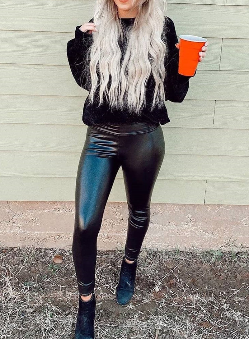 Solid Color Faux Leather Pants-JustFittoo