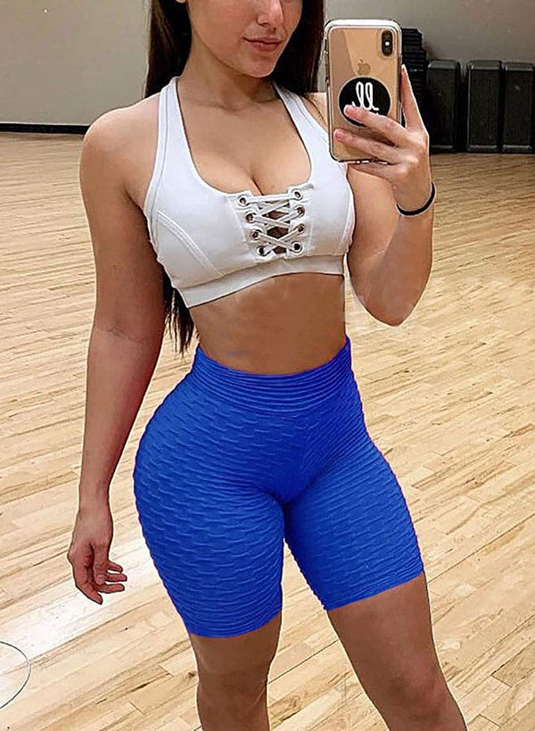Textured High Elastic Workout Yoga Shorts