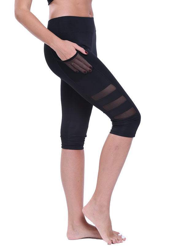 Women's Mesh Stitching Capris Yoga Pants-JustFittoo
