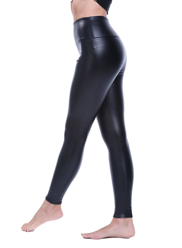 High Waist Faux Leather Women Yoga Pants-JustFittoo