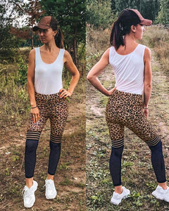 Women's Leopard Print Mesh Stitching Ruched Yoga Pants-JustFittoo