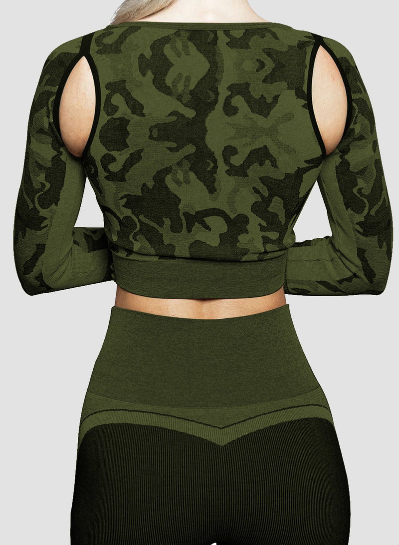 Breathable Camo Bare Shoulder Top