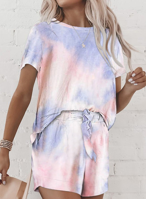Elastic Waistband Light Comfy Tie-dyed T-shirt and Shorts