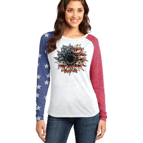 American Flag Sunflower Long Sleeve Raglan T-shirt