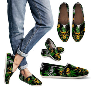 Pineapple Cannabis Skull Skeleton Women's Casual Shoe - Wonder Hippie Official