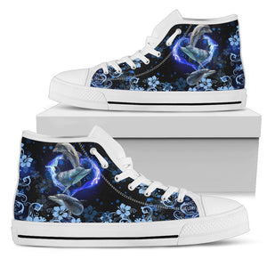 Amazing Dophin Flower High Top Shoe Black - Wonder Hippie Official