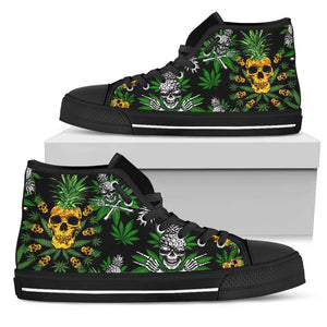 Pineapple Cannabis Skull Skeleton High Top Shoe - Wonder Hippie Official