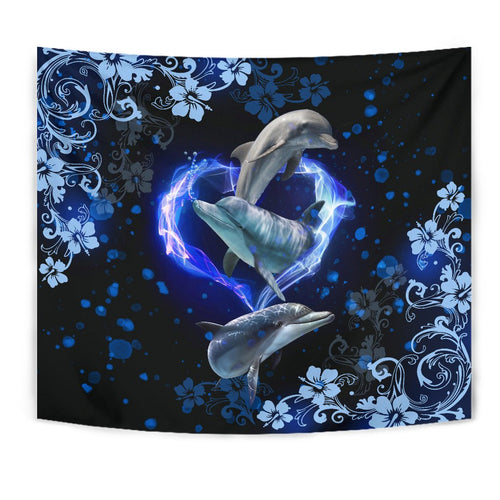 Amazing Dolphin Flower Tapestry - Wonder Hippie Official