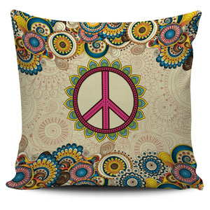 Mandala Hippie Peace Sign Pillow Case 450x450mm - Wonder Hippie Official