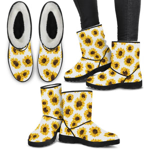 Sunflowers Pattern White Faux Fur Boots - Wonder Hippie Official