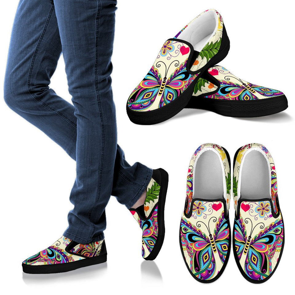 Butterfly Mandala Boho Bohemian Slip On Shoes - Wonder Hippie Official