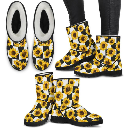 Sunflower Caro Pattern Faux Fur Boots - Wonder Hippie Official