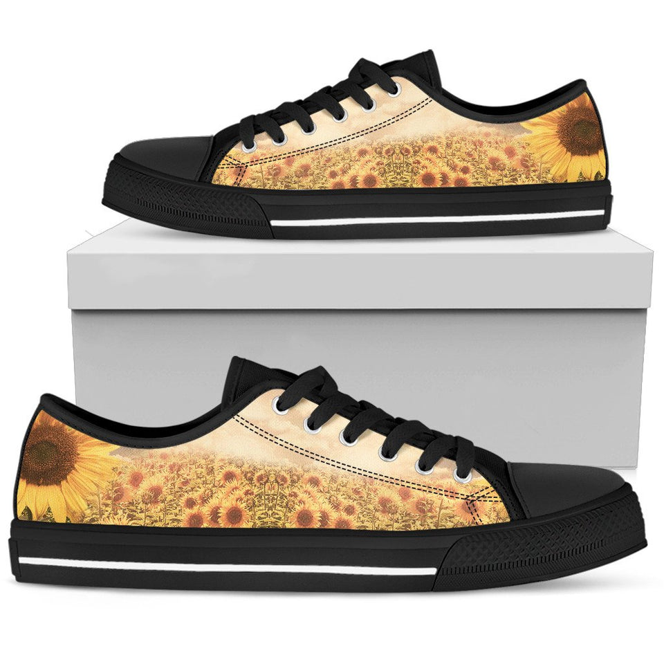 Sunflower Field Low Top Shoes WOMEN - BLACK - Wonder Hippie Official