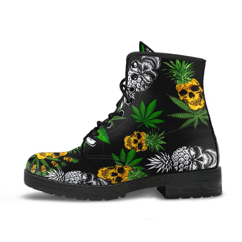 Pineapple Cannabis Skull Skeleton Leather Boots - Wonder Hippie Official